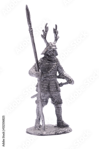 Poster statuette of a Japanese soldier in armor with a spear