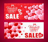 Lovely Banners Of Valentines Day Sale With Red And Pink Hearts
