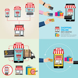 Online shopping concept. Mobile payments. vector illustration. Can be used for workflow layout template, banner, marketing. info-graphics inspire to drive your business project. Vector illustration.