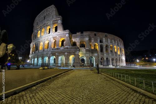 Coliseum in Rome illuminated at night