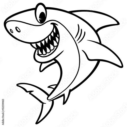 Fototapeta Shark Cartoon Drawing