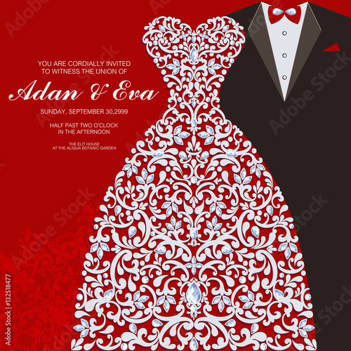 Wedding Invitation card templates with patterned and crystals on paper color Square size.