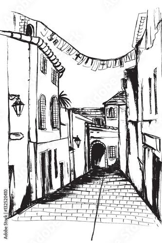 Fototapeta Ulica miasta Sant Tropez. Rysunek ręcznie rysowany na białym tle.