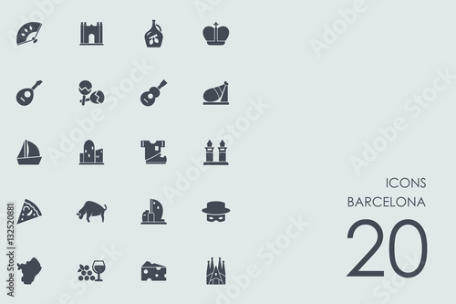 Poster Set of Barcelona icons