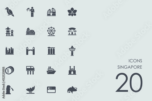 Poster Set of Singapore icons