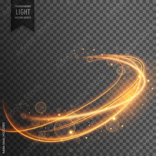 Fridge magnet magical golden light effect on transparent backgorund