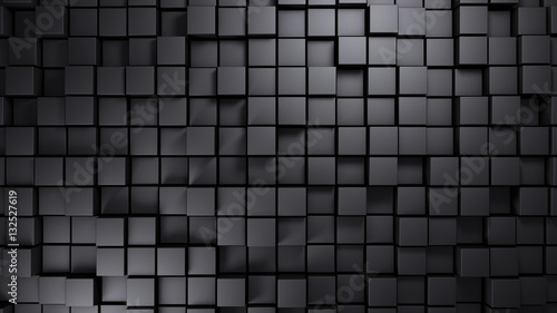 Metal structure made of displaced cubes background 3d render - 132527619