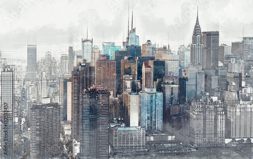 Sketch of the Manhattan skyline cityscape - 132533457