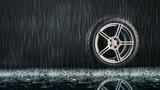 Einzelner Reifen im Regen - 132547033