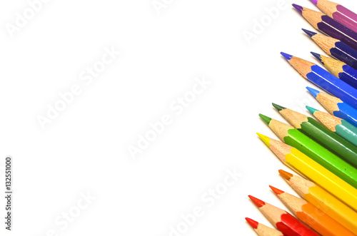 Poster Palette of color pencils on white paper