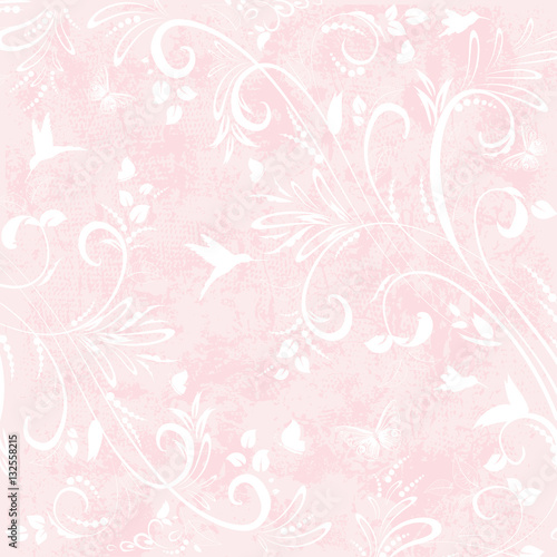 romantic background with with floral flourishes for your design - 132558215