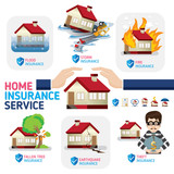 Home insurance business service icons template. Can be used for workflow layout, banner, diagram, number options, web design, timeline, infographics.Vector illustration.