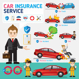 Car insurance business service icons template. Can be used for workflow layout, banner, diagram, number options, web design, timeline, info graphics.Vector illustration.