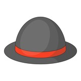 Bowler hat icon, cartoon style