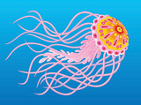 Pink jellyfish swimming in blue water