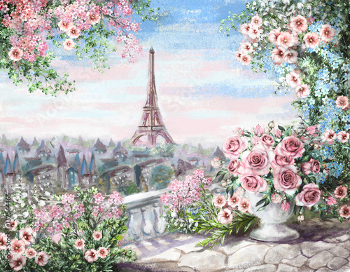 Zdjęcia na płótnie, fototapety na wymiar, obrazy na ścianę : Oil Painting, summer in Paris. gentle city landscape. flower rose and leaf. View from above balcony. Eiffel tower, France, wallpaper. watercolor modern art