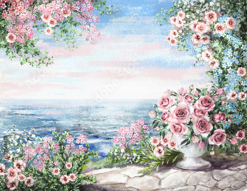 cute Oil Painting, summer, blue sea. gentle marine landscape. pink flower rose in vase and leaf. View on ocean. wallpaper. watercolor modern art. © lisima