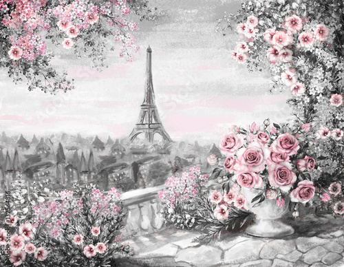 oil-painting-summer-in-paris-gentle-city-landscape-flower-rose-and-leaf-view-from-above-balcony-eiffel-tower-france-wallpaper-watercolor-modern-art-gray-and-pink