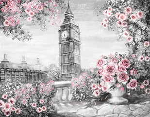 Oil Painting, summer in London. gentle city landscape. flower rose and leaf. View from above balcony. Big Ben, England, wallpaper. watercolor modern art. Gray, pink