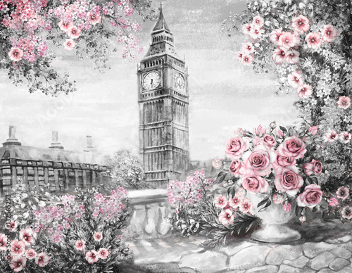 Oil Painting, summer in London. gentle city landscape. flower rose and leaf. View from above balcony. Big Ben, England, wallpaper. watercolor modern art. Gray, pink - 132565293