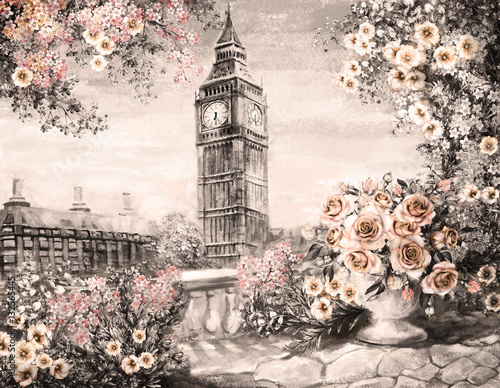 Oil Painting, summer in London. gentle city landscape. flower rose and leaf. View from above balcony. Big Ben, England, wallpaper. watercolor modern art. Sepia