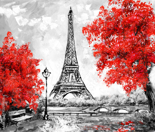 Oil Painting, Paris. european city landscape. France, Wallpaper, eiffel tower. Black, white and red, Modern art - 132568028