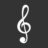 White treble clef vector icon isolated on grey.