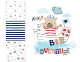 Fototapety  Sailor bear and 3 seamless patterns