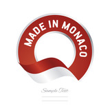Made in Monaco flag red color label button banner