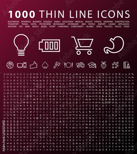 Set of 1000 Isolated Minimal Modern Simple Elegant Black Icons. Vector Elements on Dark Background.