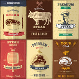 Vintage Steak House Posters Set
