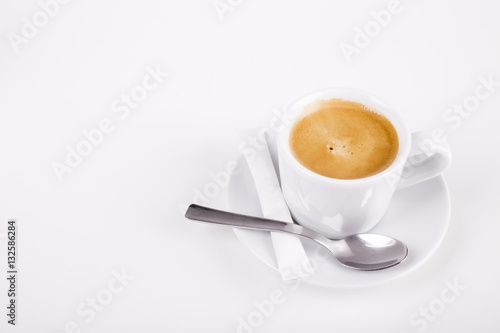 Poster white cup of coffee with spoon