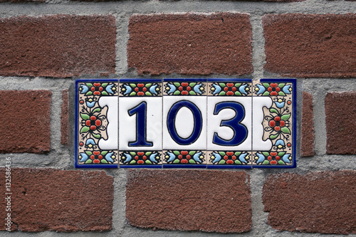 Poster Ceramic house number one hundred and three