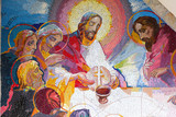 MEDJUGORJE, BOSNIA AND HERZEGOVINA, 2016/6/5. Mosaic of the institution of the Eucharist at the last supper by Jesus Christ as the fifth Luminous mystery. - 132591457