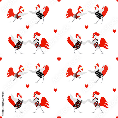 Cotton fabric seamless pattern with roosters and hens