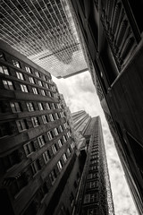 Looking up at skyscrapers in New York