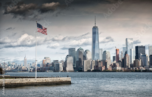 American Flag in front of the Freedom Tower, New York Poster