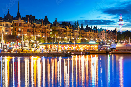 Poster Evening scenery of Stockholm, Sweden
