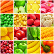 Collage from fresh fruits and vegetables