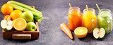 Fresh juice and smoothies with fruits and vegetables