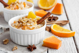 rice pudding with pumpkin and orange