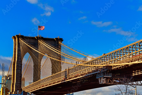 Foto op Aluminium Brooklyn Bridge Brooklyn bridge with cloudy blue sky, New York