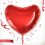 Red heart. Toy balloon 3d vector icon
