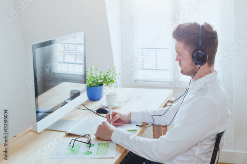 online conference or webinar, business man working in the office, education on internet, e-learning