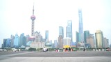 Shanghai the Bund China background video. Focus on foreground.