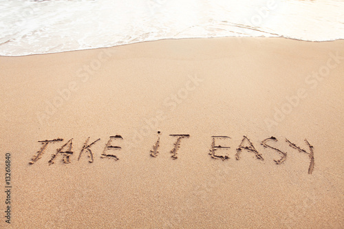 Poster take it easy, positive thinking lifestyle, carefree or relax concept