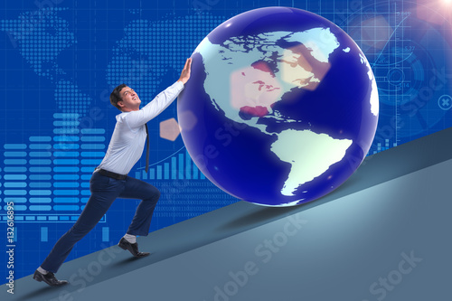 Poster Businessman pushing earth in business concept