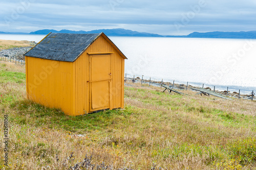 Poster Small yellow wooden cabin in the Norwegian countryside