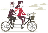 Bike ride. Retro style illustration of a man and woman riding a tandem.