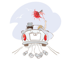 Wedding car /  Vector illustration, card with bride and groom in car